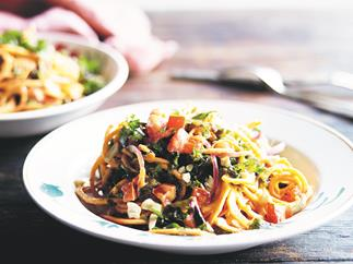 Spicy tahini sweet potato pasta