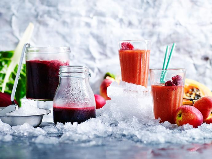 "**[Peach, papaya and raspberry crush](http://www.womensweeklyfood.com.au/recipes/peach-papaya-and-raspberry-crush-29219|target=""_blank""):** Ice ice cold... baby. Refreshing and delicious smoothie with papaya, peaches and raspberries - perfect for summer!"