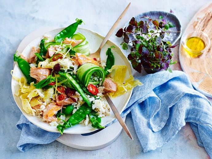 "**[Hot-smoked salmon with cauliflower 'fried rice' salad](https://www.womensweeklyfood.com.au/recipes/hot-smoked-salmon-with-cauliflower-fried-rice-salad-29224|target=""_blank"")**  Sick of rice? Try this fresh, green and healthy salad that substitutes rice for pulsed blended cauliflower."
