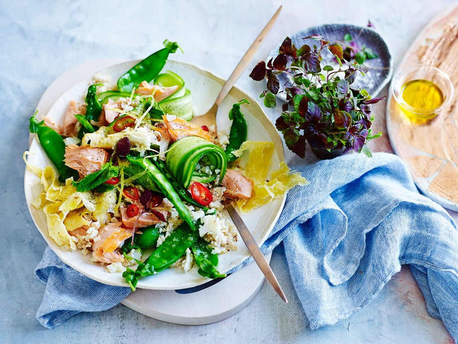 "This [hot-smoked salmon with cauliflower fried rice](https://www.womensweeklyfood.com.au/recipes/hot-smoked-salmon-with-cauliflower-fried-rice-salad-29224|target=""_blank"") is a healthy and convenient way to enjoy this takeout favourite."