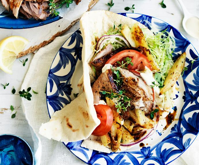 Lamb and potato gyros
