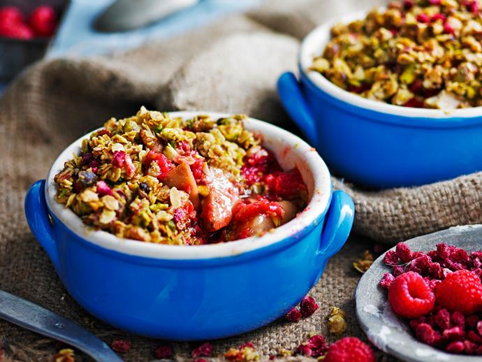 "No need to feel guilty about having dessert! This delicious **[ginger, pear and pistachio crumble](https://www.womensweeklyfood.com.au/recipes/ginger-pear-and-pistachio-crumbles-29227|target=""_blank"")** can be adapted for vegan and paleo diets."
