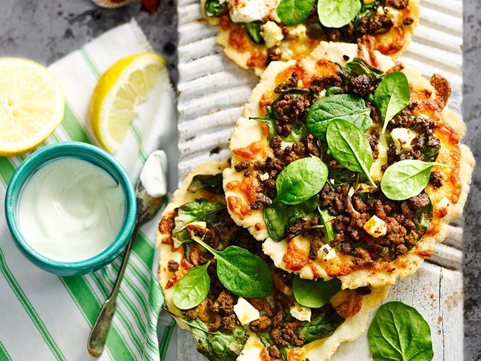 "Packed full of flavour and spice, this [Moroccan style lamb pizza](http://www.womensweeklyfood.com.au/recipes/spicy-lamb-spinach-and-fetta-pizzas-29228|target=""_blank"") is perfect for lunch - They'd also make great party and picnic food."