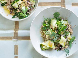 Zucchini and farro salad with toasted hazelnuts