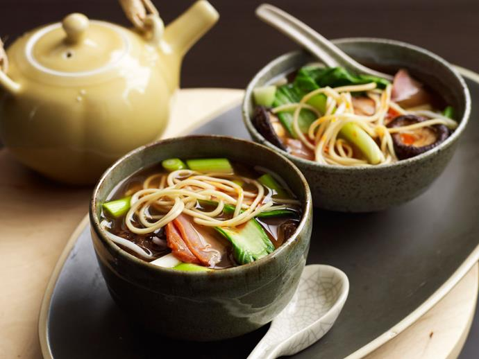 "**[Pork and ramen noodles](https://www.womensweeklyfood.com.au/recipes/pork-and-ramen-noodles-29233|target=""_blank"")**  A popular fast food in the many ramen bars in Japan, they are also a diet staple for students. 'Ramen' is the name of noodle, as well as the name of the dish."
