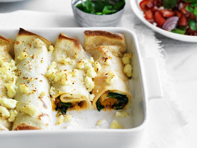 "These delicious [savoury vegetarian crepes](https://www.womensweeklyfood.com.au/recipes/curried-pumpkin-crepes-29238|target=""_blank"") are quick and easy for a family meal."