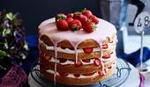 Gluten-free strawberries and cream layer cake