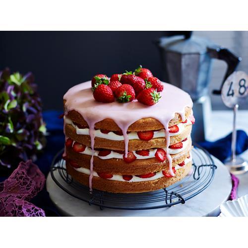Gluten Free Strawberries And Cream Layer Cake Recipe