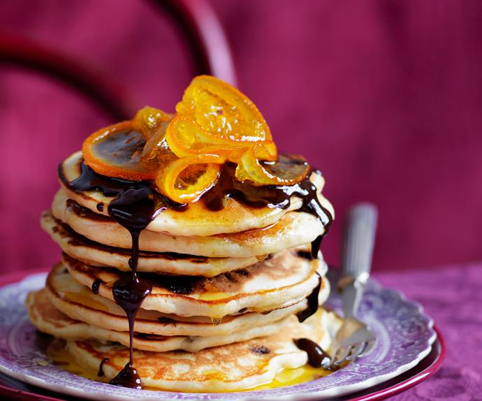 orange pancakes with chocolate sauce