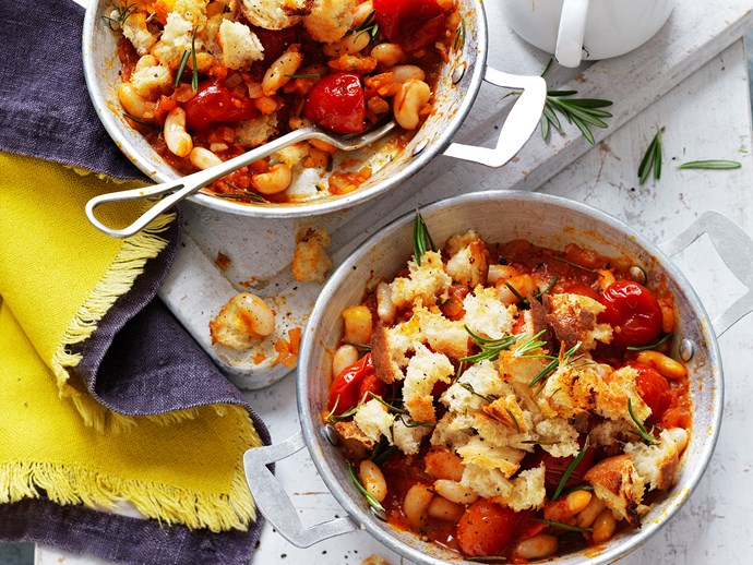"""These **[baked beans and tomato pots with rosemary sourdough crumble](https://www.womensweeklyfood.com.au/recipes/baked-beans-and-tomato-pots-with-rosemary-sourdough-crumble-29254