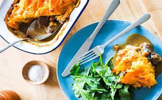 Venison, mushroom and kumara topped pie