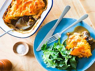 Venison, mushroom and kumara topped pie