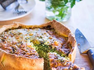 Kale and feta deep dish pie