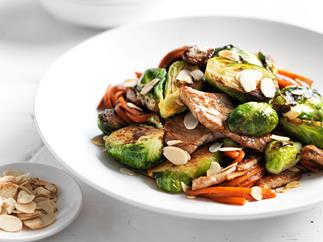 Pork and brussels sprouts stir-fry
