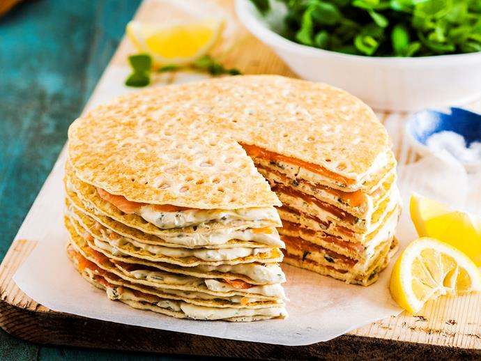 "**[Smoked salmon and mascarpone crepe cake](https://www.womensweeklyfood.com.au/recipes/smoked-salmon-and-mascarpone-crepe-cake-29263|target=""_blank"")**  This gorgeous savoury crepe 'cake' combines delicate smoked salmon, creamy mascarpone cheese and zesty herbs to create an irresistible dish perfect for entertaining guests."