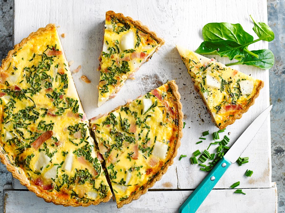 "[Bacon, chive and potato quiche](https://www.foodtolove.co.nz/recipes/bacon-chive-and-potato-quiche-31987|target=""_blank"")"