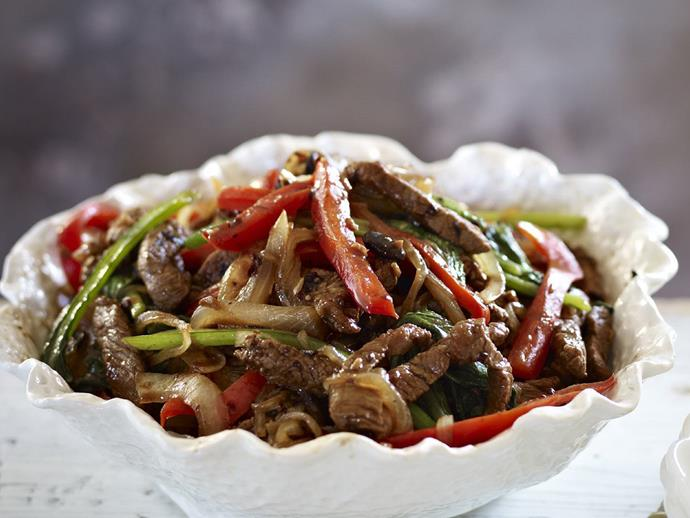 """A classic Chinese dish, [beef and black bean stir-fry](https://www.womensweeklyfood.com.au/recipes/beef-and-black-bean-stir-fry-9677