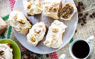 Coffee, sour cream and walnut cakes