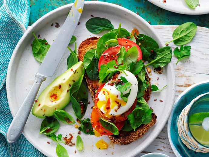 "**[Poached egg and avocado bruschetta](https://www.womensweeklyfood.com.au/recipes/poached-egg-and-avocado-bruschetta-29265|target=""_blank"")**  This light, low GI, avocado and herb salad, sourdough bruschetta, is a perfect dish for brunch, or for an afternoon snack. This recipe is suitable for diabetics."