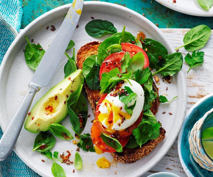 Poached egg and avocado bruschetta