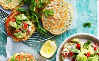 Pea fritters with avocado goat's cheese