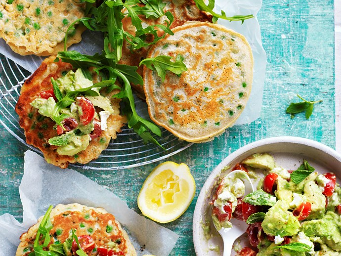 """These **[savoury pea fritters with avocado goat's cheese](https://www.womensweeklyfood.com.au/recipes/pea-fritters-with-avocado-goats-cheese-29267