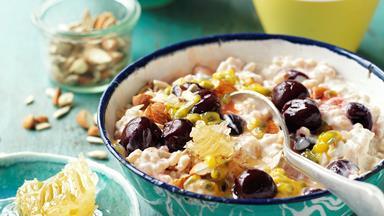 Pearl barley and cherry breakfast bowl