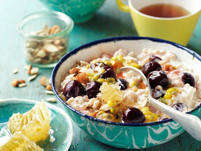 "[Pearl barley and cherry breakfast bowl](https://www.womensweeklyfood.com.au/recipes/pearl-barley-and-cherry-breakfast-bowl-29268|target=""_blank""): Packed with cherries, honeycomb and passionfruit, this barley breakfast bowl is the perfect way to start the day. It's full of fibre, fruit and good sugars, making it suitable for diabetics."