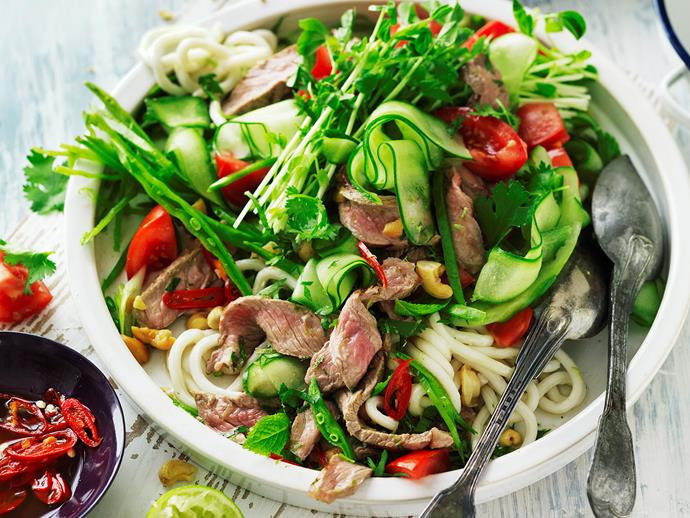 "**[Lime and coriander beef salad](https://www.womensweeklyfood.com.au/recipes/lime-and-coriander-beef-salad-29273|target=""_blank"")**  This beef noodle salad is perfect for a quick and easy weeknight dinner - spritz with lime for a citrus zing, and top with a crunch of peanuts. This recipe is suitable for diabetics."