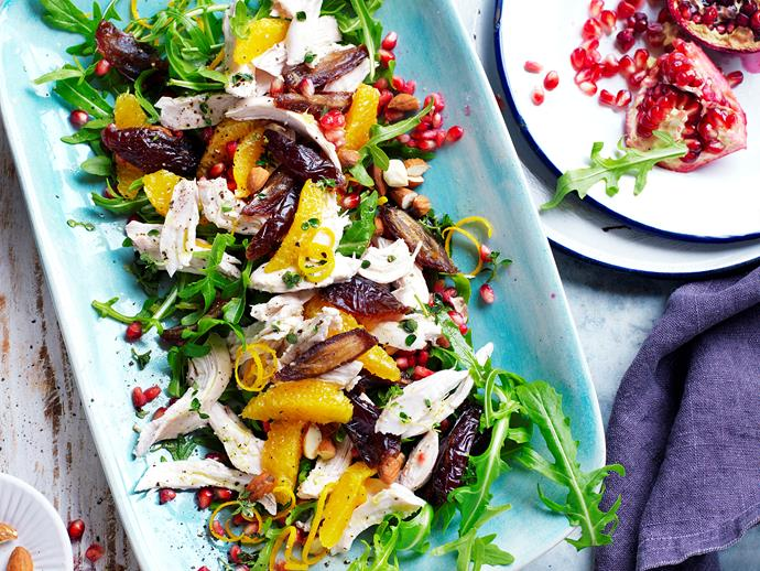 "**[Rocket, chicken and date salad](https://www.womensweeklyfood.com.au/recipes/rocket-chicken-and-date-salad-29271|target=""_blank"")**  Chicken salad with a citrus zing! This healthy lean salad is easy to prepare for lunching guests or take to work for lunch. And it's suitable for diabetics."