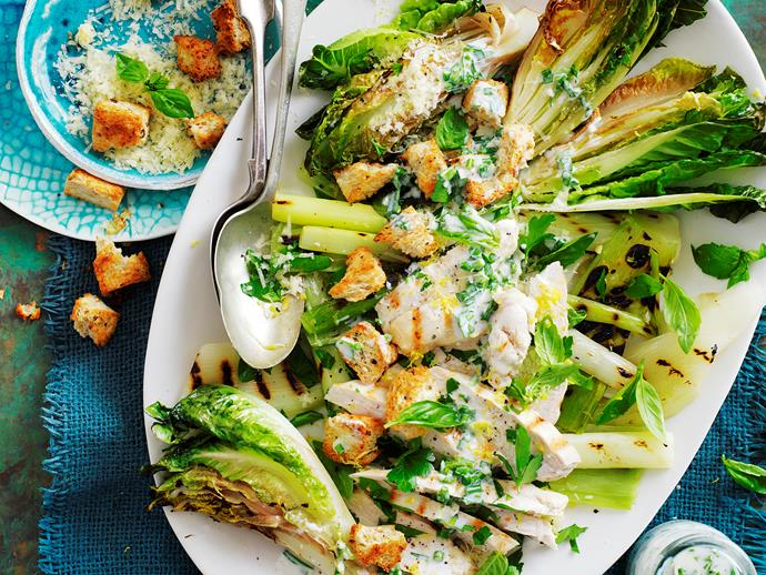 "This warm [char-grilled lettuce with creamy chicken salad](https://www.womensweeklyfood.com.au/recipes/grilled-chicken-with-warm-cos-lettuce-salad-29272|target=""_blank"") is perfect for lunch, and as a side for dinner or a BBQ. It's a healthier alternative to a Caesar salad. And suitable for diabetics, too."