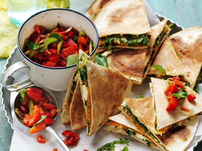 "These delicious [vegetarian quesadillas](https://www.womensweeklyfood.com.au/recipes/pumpkin-ricotta-and-rocket-quesadillas-29274|target=""_blank"") are great for lunch or an afternoon snack. The kids (big and small) will enjoy them. And they're suitable for diabetics, too."