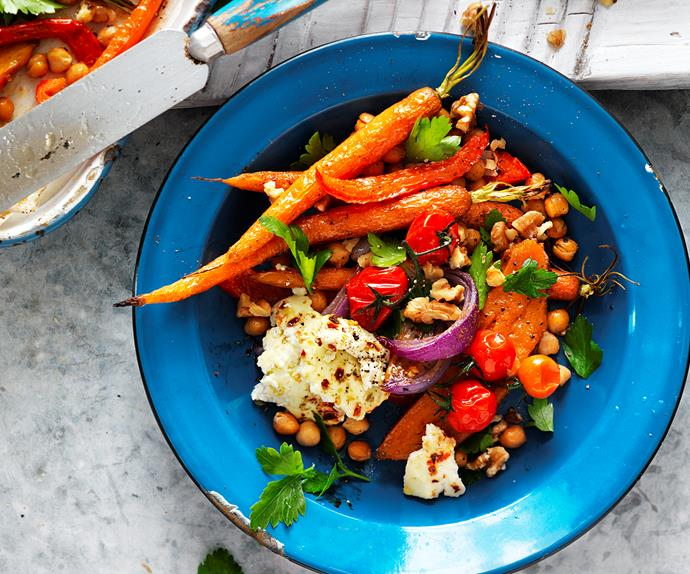Spiced vegetable, chickpea and ricotta salad