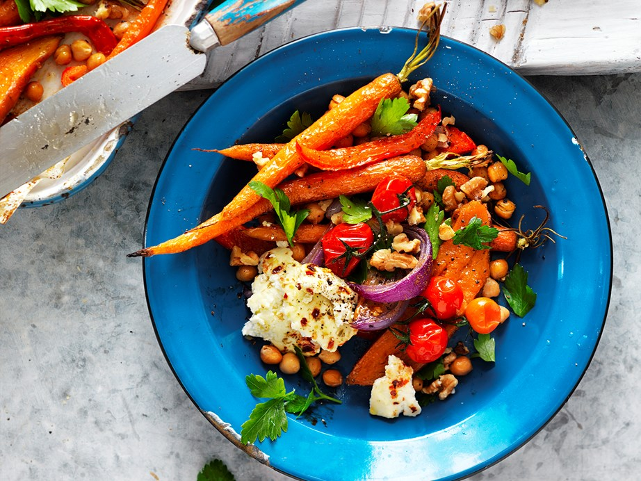 "This [spiced vegetable, chickpea and ricotta salad](https://www.womensweeklyfood.com.au/recipes/spiced-vegetable-chickpea-and-ricotta-salad-29275|target=""_blank"") is perfect for fans of caramelised roast carrots and spiced baked ricotta."