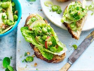 Broad bean, apple & walnut open sandwich