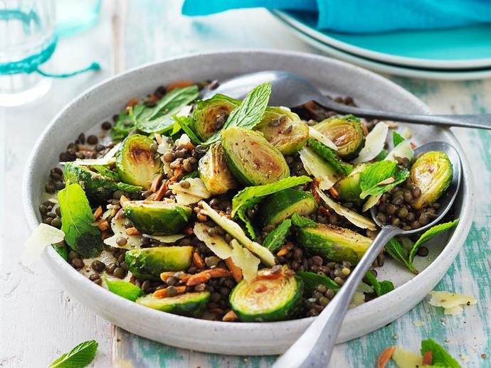 """This delicious golden [roasted brussels sprout and lentil salad](https://www.womensweeklyfood.com.au/recipes/roasted-brussels-sprouts-and-lentil-salad-29278