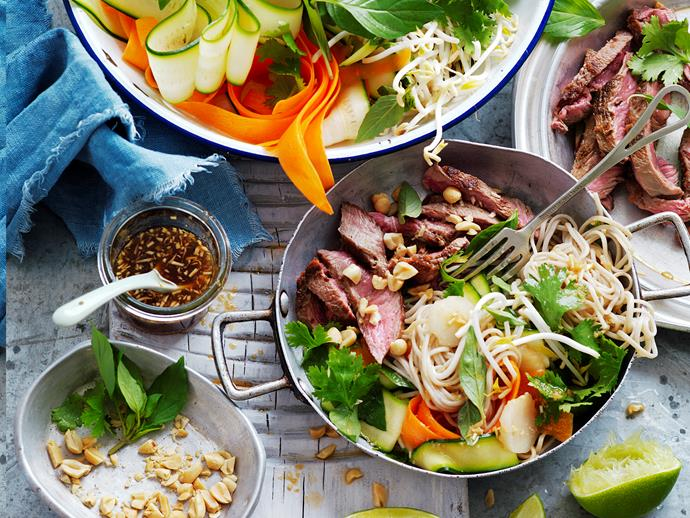 "This tasty Asian fusion [noodle salad](https://www.womensweeklyfood.com.au/recipes/noodle-salad-with-ginger-rubbed-beef-29270|target=""_blank"") is packed full of veggies and delicious ginger spiced flash-fried beef. Perfect for lunch and it's suitable for diabetics."