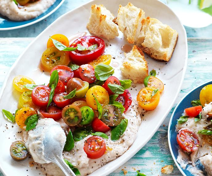 Tomato and white bean puree salad