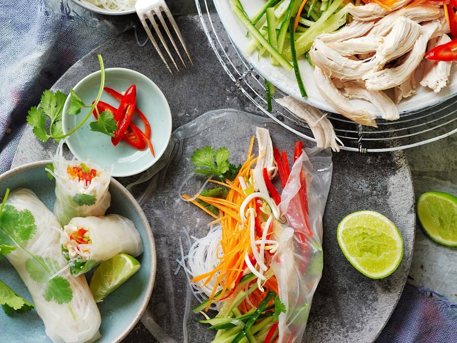 "With light and fresh flavours, you need to try your hands at our **[ginger and chilli chicken rice paper rolls](https://www.womensweeklyfood.com.au/recipes/ginger-and-chilli-chicken-rice-paper-rolls-29280|target=""_blank"")**."