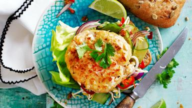 Thai prawn burgers