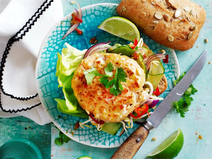 "**[Thai prawn burgers](https://www.womensweeklyfood.com.au/recipes/thai-prawn-burgers-29281|target=""_blank"")** Love burgers and love seafood? These Thai style prawn burgers are the perfect fusion. And they're suitable for diabetics, too."