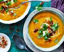 Chai-roasted pumpkin soup with honey walnuts