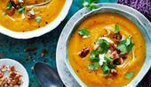 Chai-roasted pumpkin soup with honey walnuts
