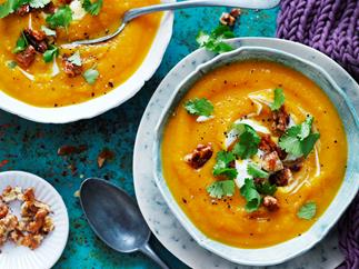 Chai roasted pumpkin soup with honey walnuts