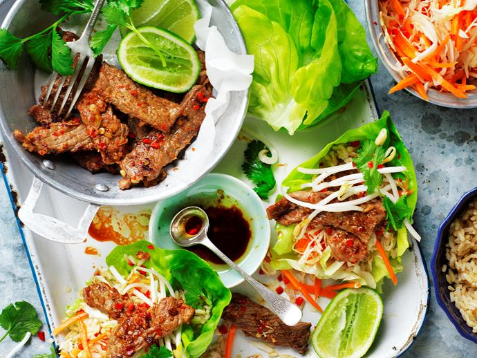 "[Korean beef lettuce cups with pickled vegetables](https://www.womensweeklyfood.com.au/recipes/korean-beef-lettuce-cups-with-pickled-vegetables-29284|target=""_blank""): Spicy, fresh and delicious! These beef slices make a great low-carb dish."
