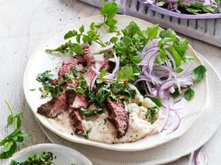 Barbecued steak with white bean puree and chimichurri