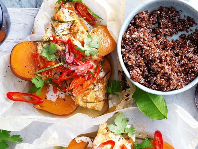 "These delicious [kaffir lime and curry fish parcels](https://www.womensweeklyfood.com.au/recipes/kaffir-lime-and-red-curry-fish-parcels-29288|target=""_blank"") are a light and healthy meal, perfect for the warmer weather. And they are suitable for diabetics."