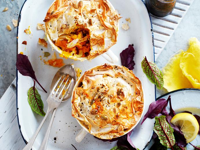 "[Chicken and pumpkin pot pies recipe.](https://www.womensweeklyfood.com.au/recipes/chicken-and-pumpkin-pot-pies-29289|target=""_blank"")"