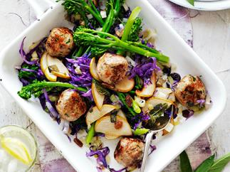 Pork and sage meatballs with cabbage and pear