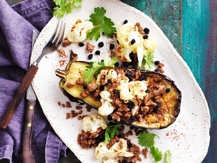 "[Roasted eggplant with spiced lamb](http://www.foodtolove.com.au/recipes/roasted-eggplant-with-spiced-lamb-27326|target=""_blank"")"